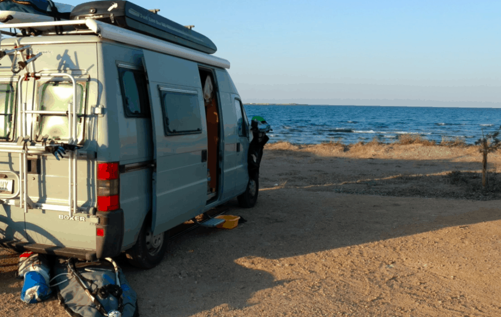 Camping van on the beach